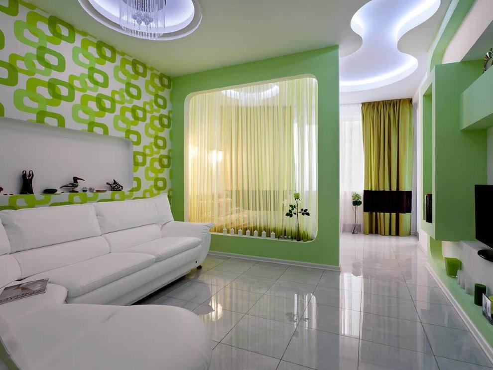 Легкая перегородка в гостиной с глянцевым полом