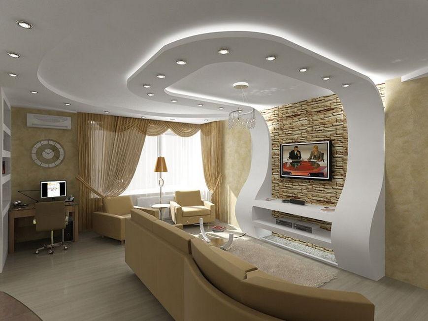 Переход гипсокартонного потолка на стену гостиной