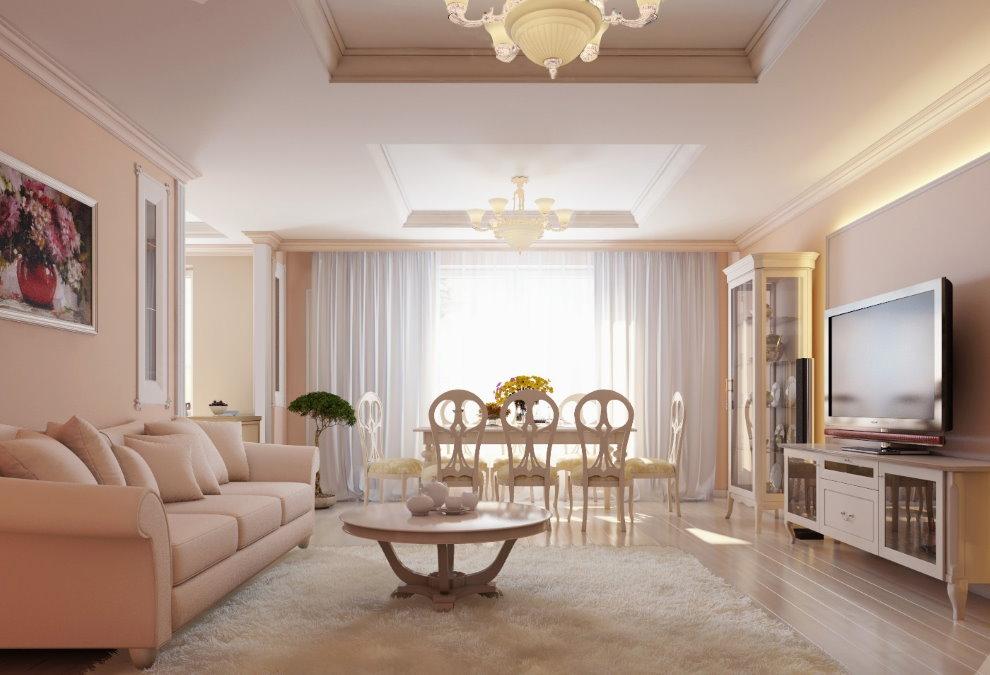 Интерьер персиковой гостиной в стиле неоклассика