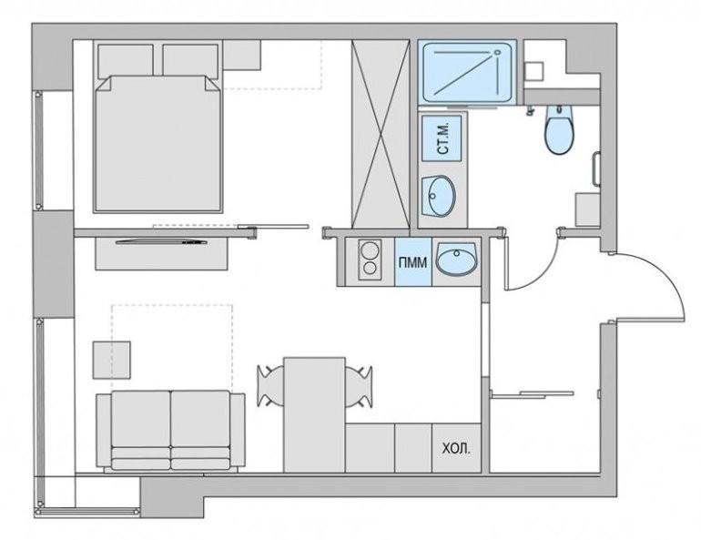 План двушки площадью 38 кв м после переделки из однушки