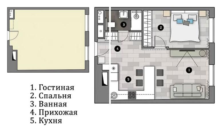 План однушки площадью 43 кв м после переделки в двушку