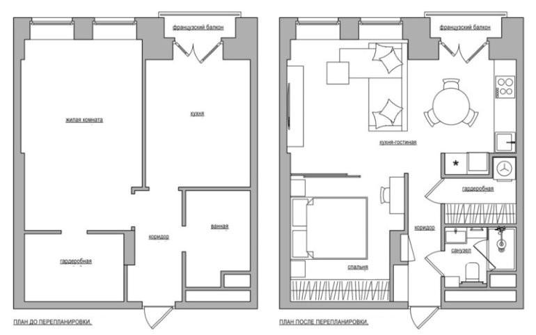Схема переделки однокомнатной квартиры 45 кв м в двухкомнатную