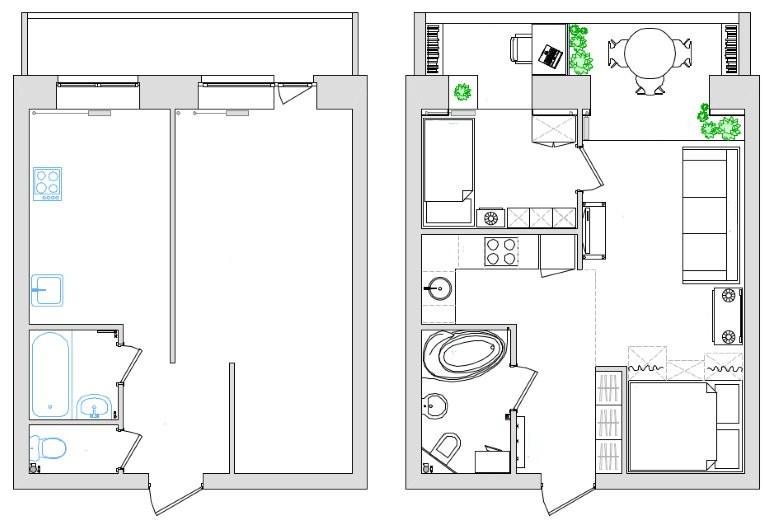 План однушки площадью 55 кв м до и после переделки в двушку