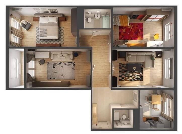 План четырехкомнатной квартиры для большой семьи