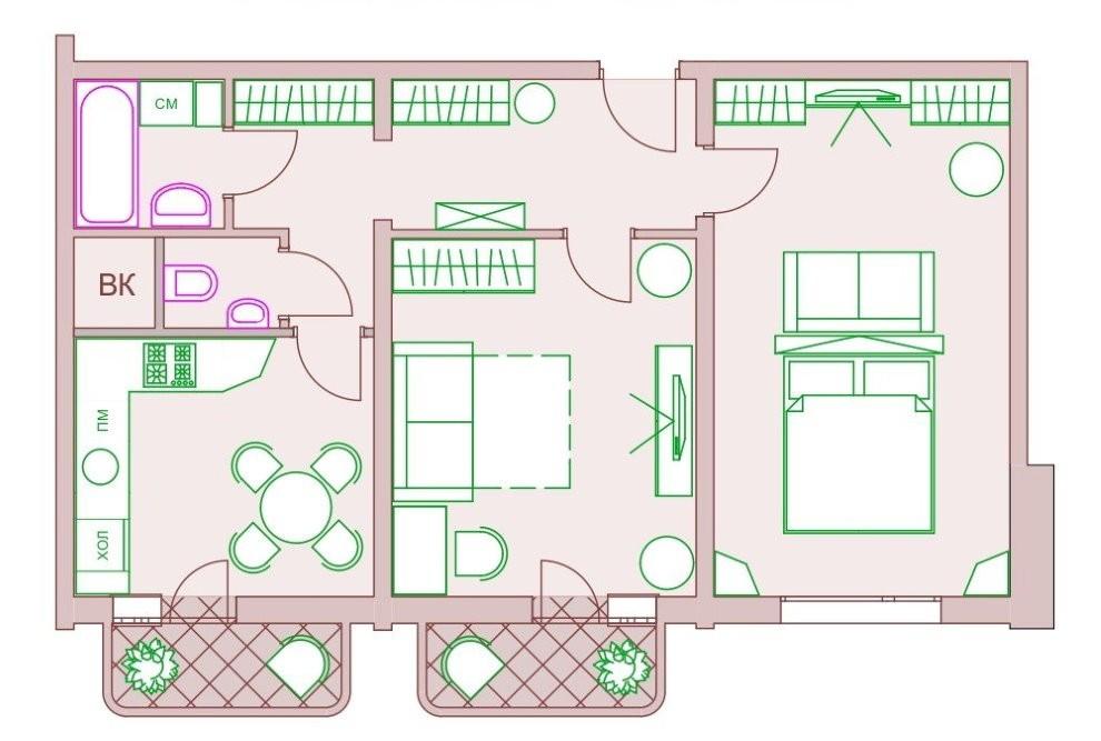 План расстановки мебели в квартире с балконами