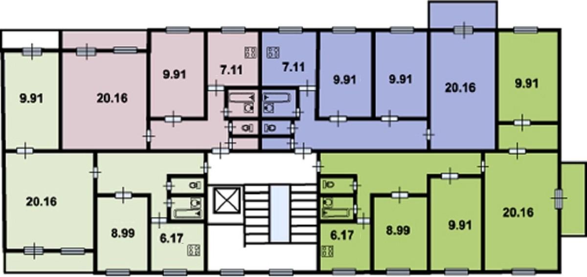 планировка этажа 504 серия