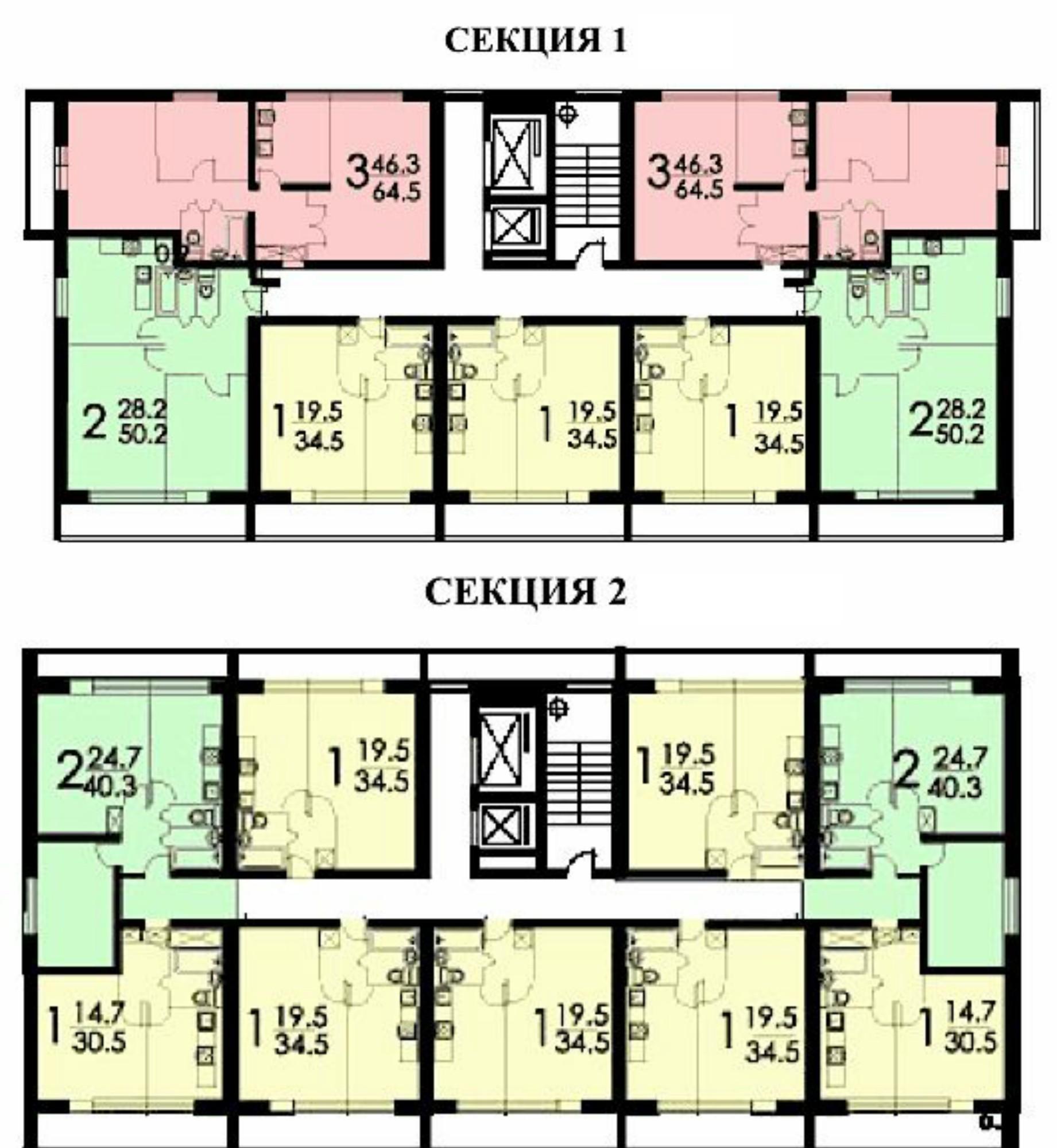 планировка этажа ii-68