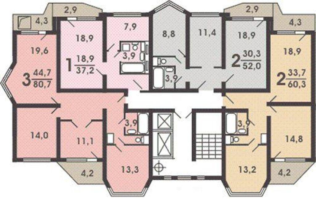 планировка этажа п44т
