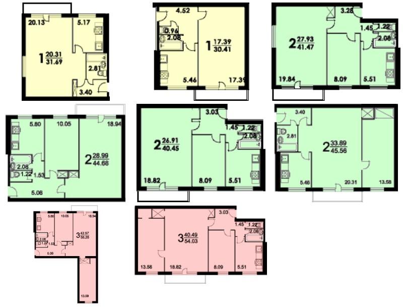 планировка этажа серия 1-515