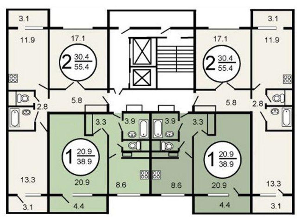 планировка этажа серия п 46 м