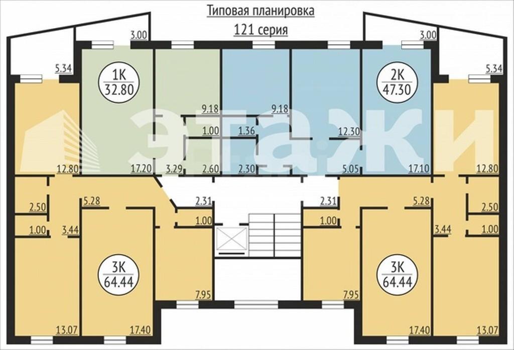 планировка квартир 121 серия