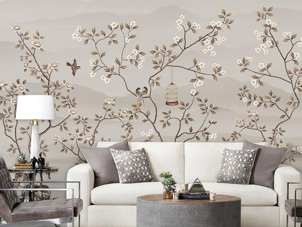 покраска с росписью стен в гостиной