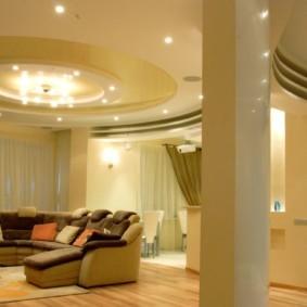 потолок из гипсокартона для гостиной идеи дизайн