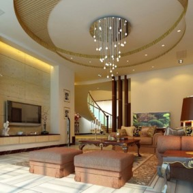 потолок из гипсокартона для гостиной декор фото