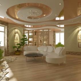 потолок из гипсокартона для гостиной фото декор