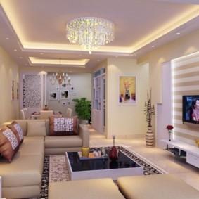 потолок из гипсокартона для гостиной фото декора