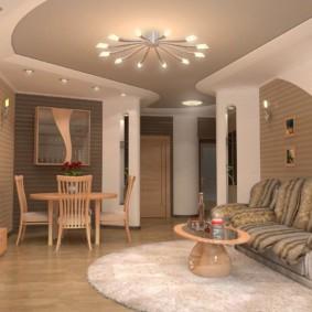 потолок из гипсокартона для гостиной идеи декора