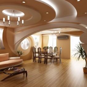 потолок из гипсокартона для гостиной фото интерьера