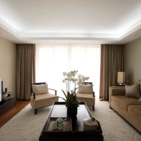 потолок из гипсокартона для гостиной интерьер идеи