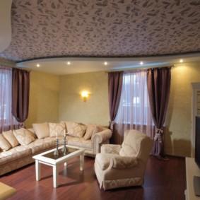 потолок из гипсокартона для гостиной оформление фото