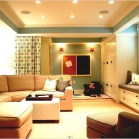 потолок из гипсокартона для гостиной фото оформления