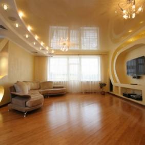 потолок из гипсокартона для гостиной идеи оформления