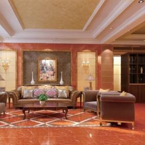 потолок из гипсокартона для гостиной варианты фото