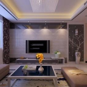 потолок из гипсокартона для гостиной фото вариантов