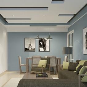 потолок из гипсокартона для гостиной варианты идеи