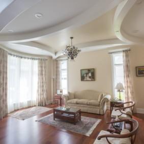 потолок из гипсокартона для гостиной идеи варианты