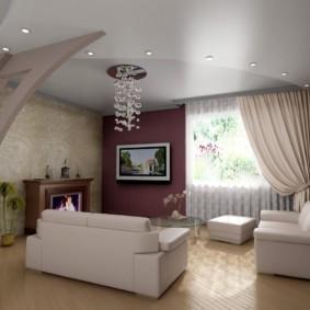 потолок из гипсокартона для гостиной идеи вариантов