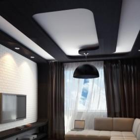 потолок из гипсокартона для гостиной виды фото
