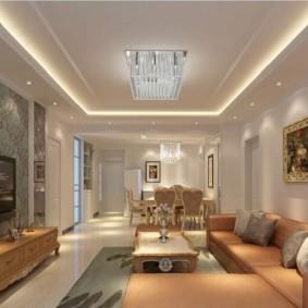потолок из гипсокартона для гостиной фото виды