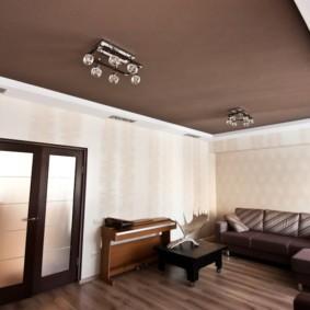 потолок из гипсокартона для гостиной фото видов