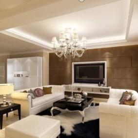 потолок из гипсокартона для гостиной виды идеи