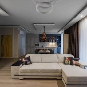 потолок из гипсокартона для гостиной виды дизайна