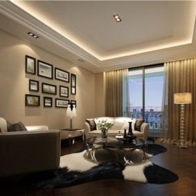 потолок из гипсокартона для гостиной виды декора