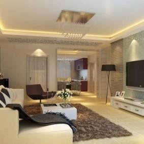 потолок из гипсокартона для гостиной фото