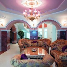 потолок из гипсокартона для гостиной дизайн идеи
