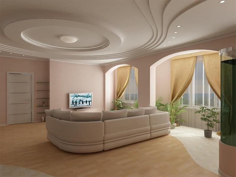 потолок из гипсокартона для гостиной декор идеи