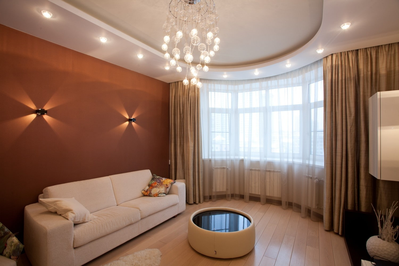 потолок из гипсокартона для гостиной дизайн фото