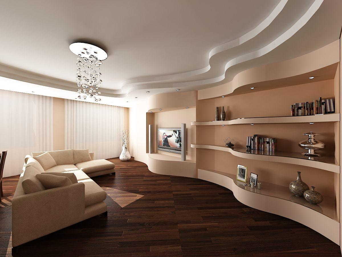 потолок из гипсокартона для гостиной дизайн