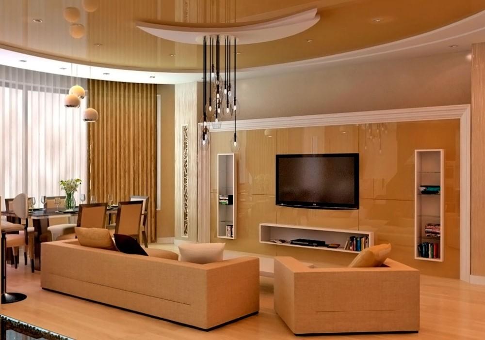 потолок из гипсокартона для гостиной фото идеи