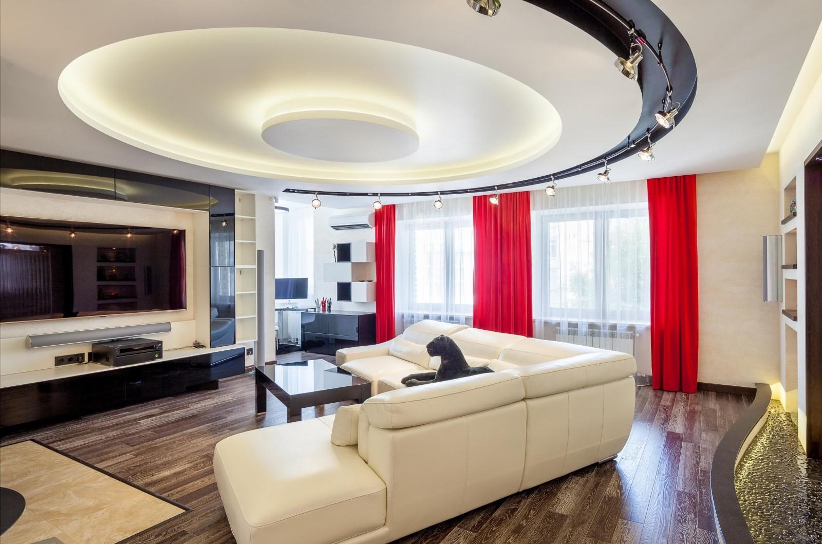 потолок из гипсокартона для гостиной идеи декор
