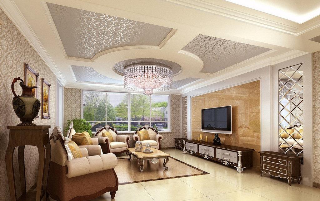потолок из гипсокартона для гостиной идеи дизайна