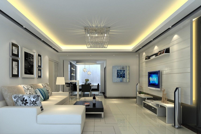 потолок из гипсокартона для гостиной идеи фото