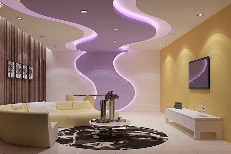 потолок из гипсокартона для гостиной оформление идеи