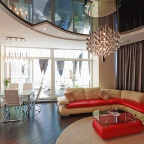 потолок в гостиной фото