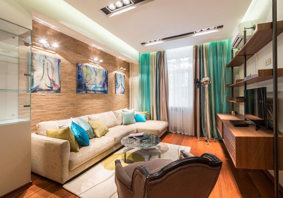 потолок в гостиной современный
