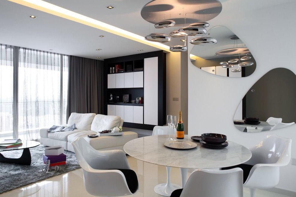 Дизайн потолка в зале стиля хай-тек